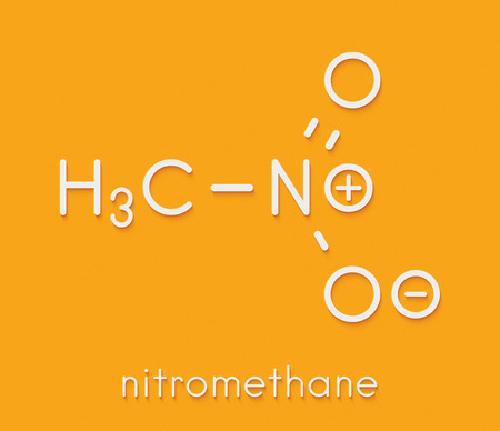 Nitromethane nitro fuel molecule. Used as fuel to power rockets, drag racing cars, etc. Also used as high explosive. Skeletal formula.