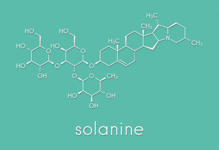 Solanine nightshade poison molecule. Present in potatoes, especially in the green parts. Skeletal formula. Stock Photo - 87347539