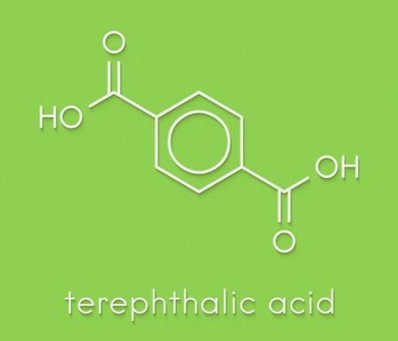 Bloque de construcción de plástico de ácido tereftálico, poliéster (PET, tereftalato de polietileno). Fórmula esquelética.