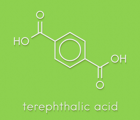 pete: Terephthalic acid, polyester (PET, polyethylene terephthalate) plastic building block. Skeletal formula.