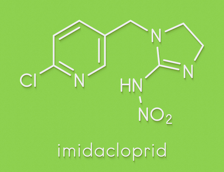Imidacloprid neonicotinoid insecticide. Insect neurotoxin that may contribute to honey bee colony collapse disorder. Skeletal formula. Stock Photo