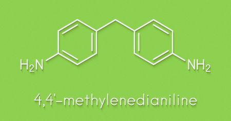 4,4-methylenedianiline (methylenedianiline, MDA) molecule. Suspected carcinogen, on the list of substances of very high concern. Used in polyurethane production. Skeletal formula. Stock Photo