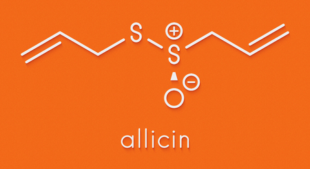 Allicin garlic molecule. Formed from alliin by the enzyme alliinase. Believed to have a number of positive health effects. Skeletal formula. Stock Photo