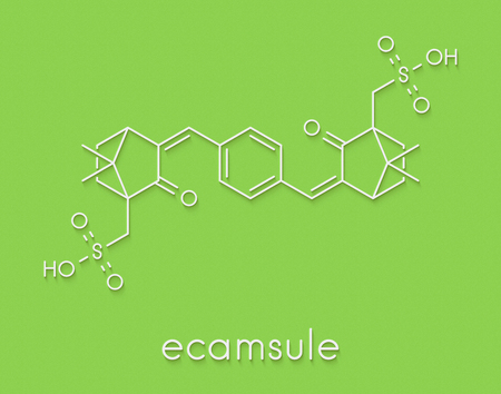 Ecamsule sunscreen molecule (UV filter). Skeletal formula. Stock Photo