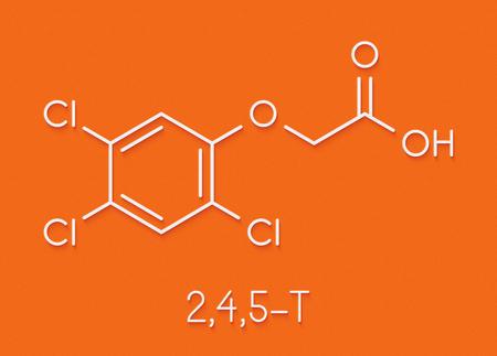 Trichlorophenoxyacetic acid (2,4,5-T) herbicide molecule (synthetic auxin). Skeletal formula.