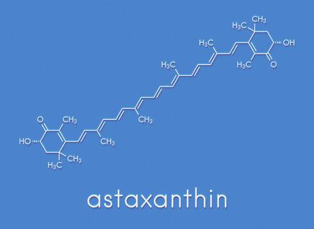 アスタキサンチン色素分子。カロテノイドは、サーモン、ロブスター、エビの赤ピンクの色を担当。食品色素 (E161j) と抗酸化栄養補助食品として使 写真素材