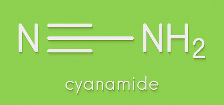 Cyanamide molecule. Used in agriculture and chemical synthesis. Skeletal formula. Stock Photo