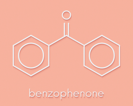 Benzophenone molecule. Skeletal formula. Stock Photo