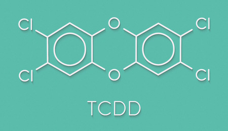 TCDD polychlorinated dibenzodioxin pollutant molecule (commonly called dioxin). Byproduct formed during incineration of chlorine-containing materials. Skeletal formula.