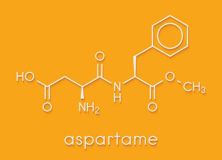 Aspartame artificial sweetener molecule (sugar substitute). Skeletal formula. Stock Photo