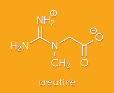 Creatine molecule. Often used in food supplements. Skeletal formula. Stock Photo