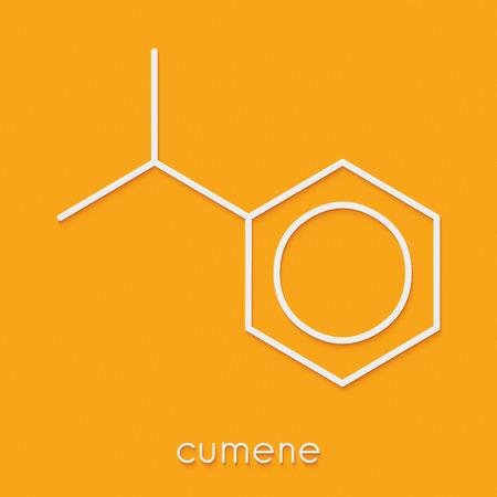 クメン (isopropylbenzene) 芳香族炭化水素分子。骨格式。