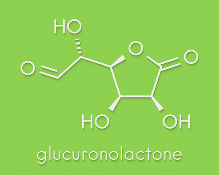 Glucuronolactone molecule. Used in food supplements and energy drinks. Skeletal formula.