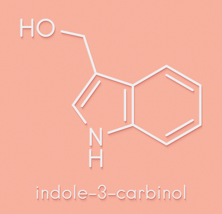 Indole-3-carbinole (I3C) cruciferous vegetable molecule. Present in food prepared with broccoli, cabbage, kale, etc. May have beneficial health effects.  Skeletal formula.