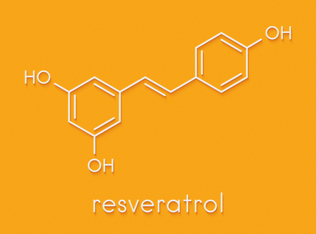 Resveratrol molecule. Present in many plants, including grapes and raspberries. Believed to have a number of positive health effects. Skeletal formula.