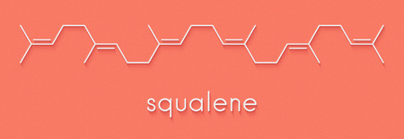Squalene natural hydrocarbon molecule. Found in shark liver oil and number of plant sources. Skeletal formula. Stock Photo