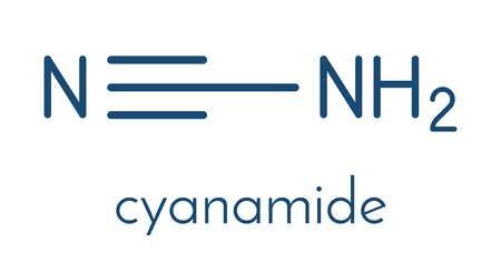 Cyanamide molecule. Used in agriculture and chemical synthesis. Skeletal formula. Illustration
