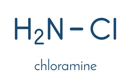Chloramine (monochloramine) disinfectant molecule. Readily decomposes, resulting in hypochlorous acid formation. Skeletal formula. Illustration