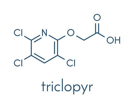 Triclopyr 제초제 (넓은 잎 잡초 살인자) 분자. 골격 공식.