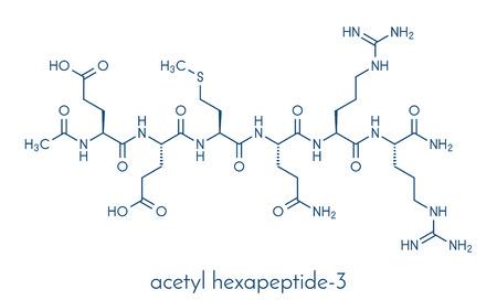 Acetyl hexapeptide-3 (argireline) molecuul. Stock Illustratie