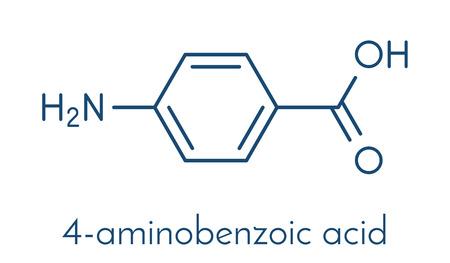 4-aminobenzoëzuur (PABA, aminobenzoaat) molecuul. Stock Illustratie
