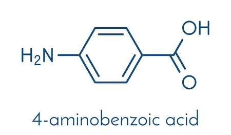 4-aminobenzoic acid (PABA, aminobenzoate) molecule. Stock Vector - 88182515