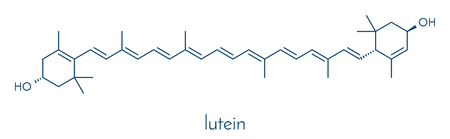 Lutein yellow-orange plant pigment molecule. Çizim