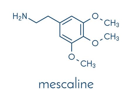Mescaline peyote cactus psychedelic molecule. Skeletal formula. Stock Vector - 88184614