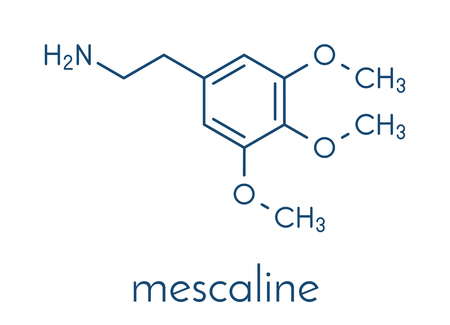 Mescaline peyote cactus psychedelic molecule. Skeletal formula.