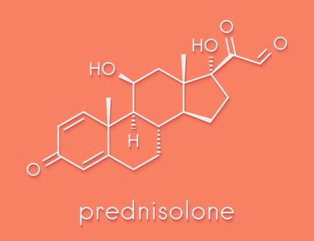 Prednisolone corticosteroid drug molecule. Skeletal formula.