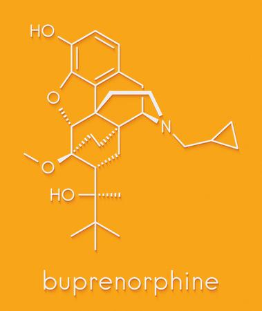Buprenorfine-opioïde-verslaving en pijnstillergeneesmiddelmolecuul. Skeletachtige formule.