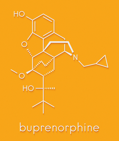 Buprenorphine opioid addiction and pain killer drug molecule. Skeletal formula. Foto de archivo