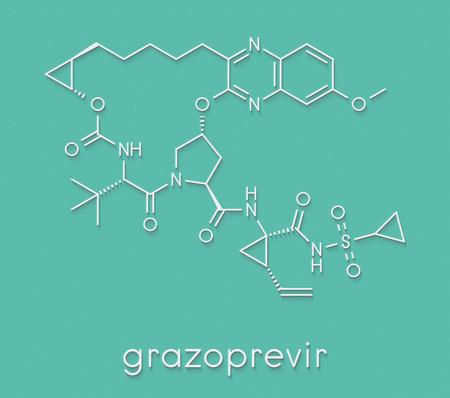 Grazoprevir hepatitis C virus drug molecule (protease inhibitor). Skeletal formula.