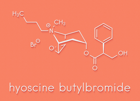 Butylscopolamine (hyoscine butylbromide, scopolamine butylbromide, butylhyoscine) drug molecule. Used in treatment of abdominal and menstrual cramps. Skeletal formula.