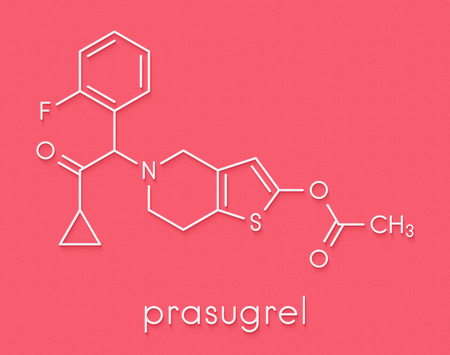 Prasugrel platelet inhibitor drug molecule. Used in treatment of acute coronary syndrome and in the prevention of stent thrombosis. Skeletal formula.