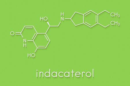 Indacaterol COPD drug molecule. Skeletal formula.