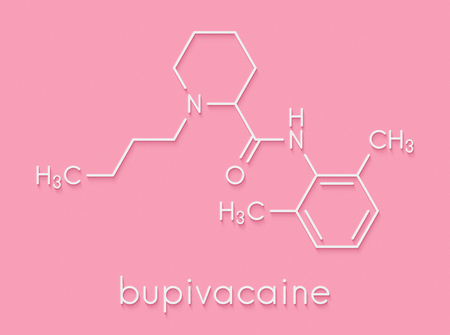 Bupivacaine epidural anesthetic drug molecule (local anesthetic). Skeletal formula. Stock Photo