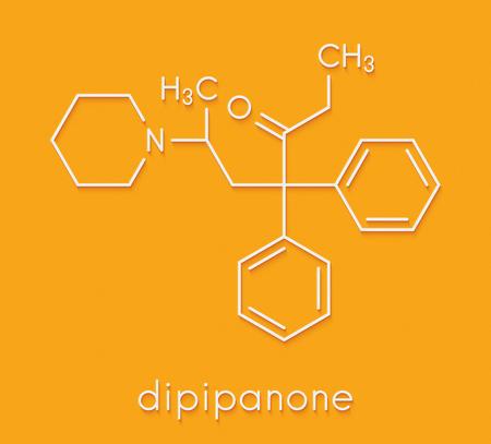 Dipipanone opioid analgesic drug molecule. Skeletal formula.
