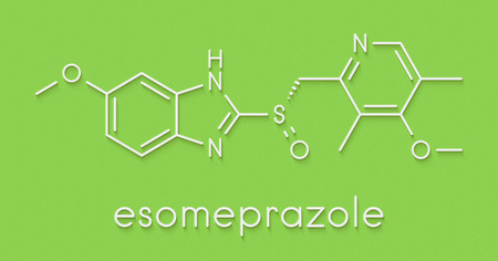 eradication: Esomeprazole peptic ulcer drug molecule (proton pump inhibitor). Skeletal formula.