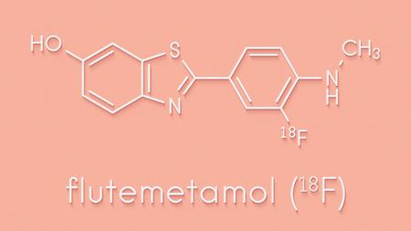Flutemetamol (18F) PET tracer molecule. Used to diagnose Alzheimers disease. Skeletal formula. Stock Photo