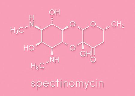Spectinomycin gonorrhea drug molecule. Antibiotic of the aminocyclitol class. Skeletal formula.