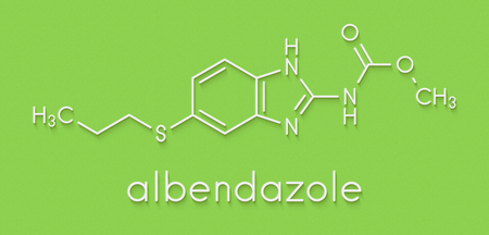Albendazole anthelmintic drug molecule. Used in treatment of parasitic worm infestations. Skeletal formula. Stock Photo