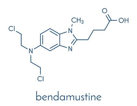 Bendamustine cancer chemotherapy drug molecule (nitrogen mustard). Skeletal formula.