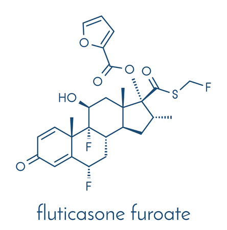 Fluticasone furoate corticosteroid drug molecule. Used in treatment of allergic rhinitis, COPD and chronic bronchitis. Skeletal formula.
