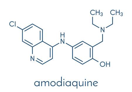 Amodiaquine anti-malarial drug molecule. Skeletal formula.