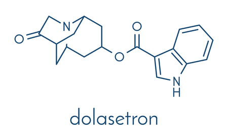 Dolasetron nausea and vomiting drug molecule. Skeletal formula.