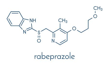 Rabeprazole 위궤양 약물 분자 (양성자 펌프 억제 물). 골격 공식. 일러스트