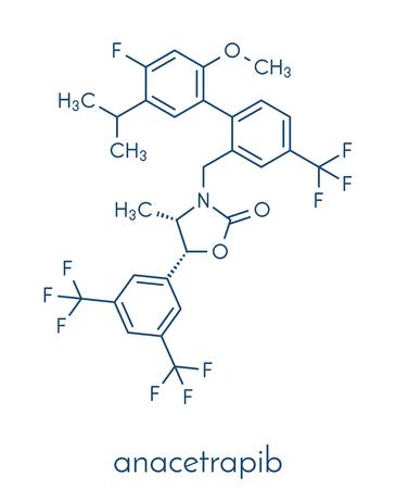 アナセトラピブの高コレステロール血症の薬物の分子。高コレステロール値の治療のため (cholesterylester 転送蛋白質) CETP 阻害剤。骨格式。