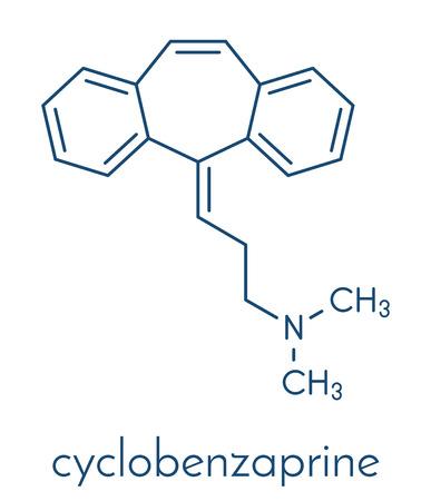 Cyclobenzaprine muscle spasm drug molecule. Skeletal formula.