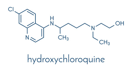 Hydroxychloroquine malaria drug molecule. Skeletal formula.